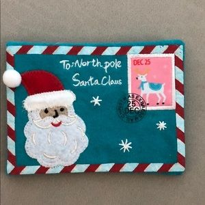 Embroidered Christmas Santa letter ornament nwt
